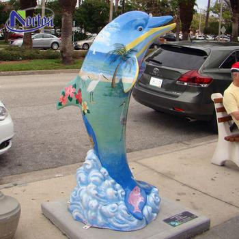 Modern Animal Dolphin Garden Statues Fiberglass NTFA 147Y