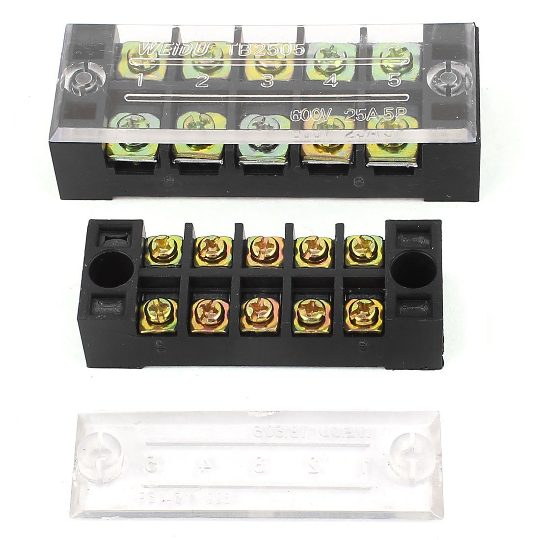 2Pcs 600V 15A/25A Dual Row 5 Position Barrier Terminal Strip Block Set