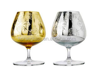 Luxury golden and silver carved crystal brandy snifters in pair Brandy Goblets Whisky glass for party wedding gift