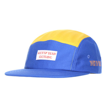 5 Panel Flat Bill Woven Label Cap Mens Fashion Blue Yellow Stitching Color Hat