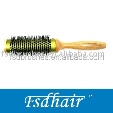 bamboo round silver ceramic aluminum barrel wood hair brush