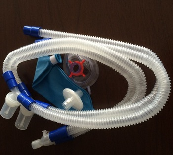 Breathing Circuit With Double Water Traps,Mask&filter Used In  Icu(smoothbore Tube) - Buy Breathing Circuit,Double Water Traps,Anethesia  Mask Product