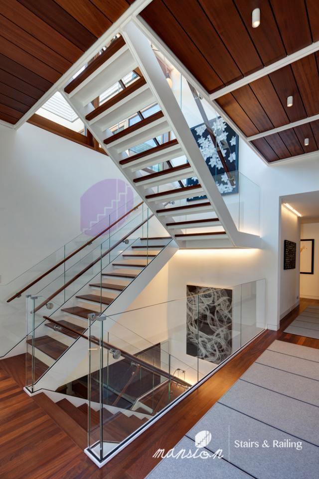 Good Low Cost Double Stringer Wood Open Staircase