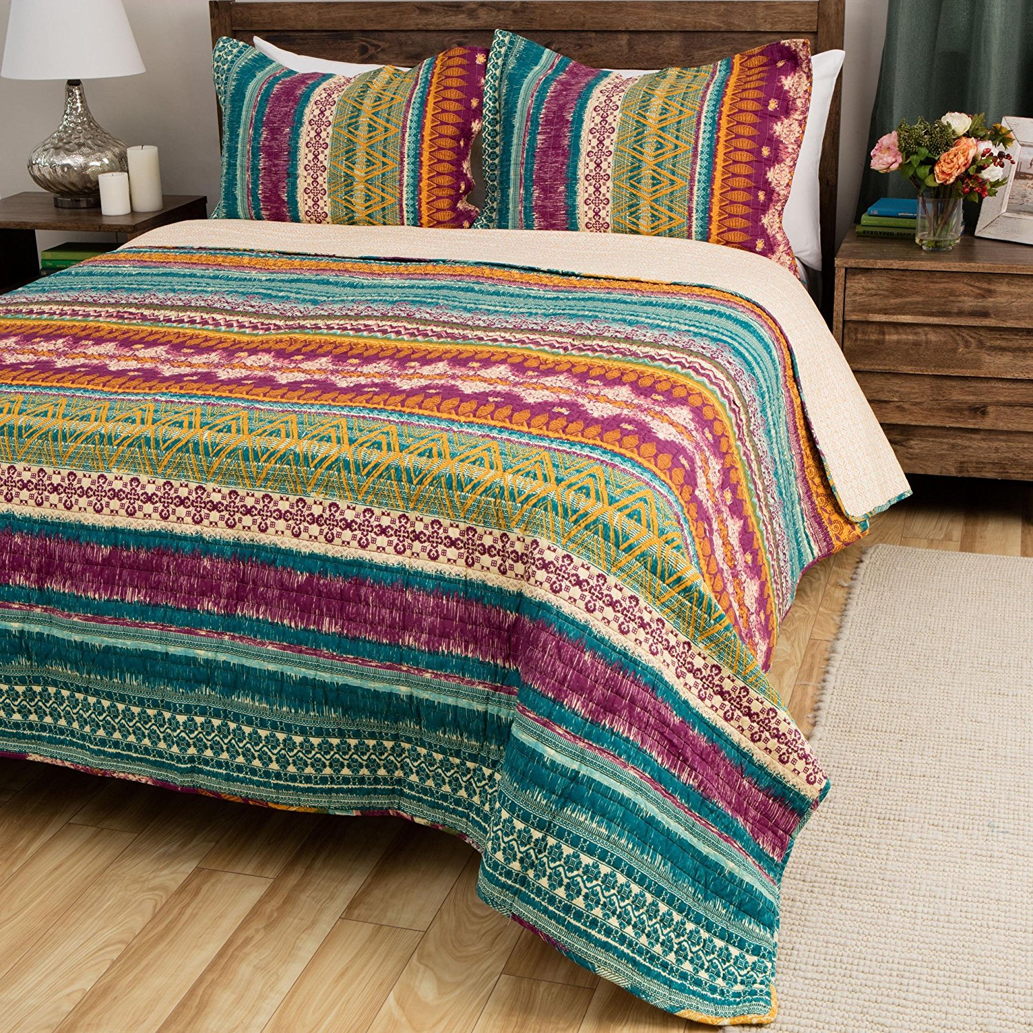3 Piece Beautiful Colorful Blue Purple Pink Green Full Queen Quilt Set, Rainbow Striped Bohemian Themed Reversible Bedding Cottage Cabin Tie Dye Aqua Lavender Turquoise Gold Boho Vivid Bright, Cotton