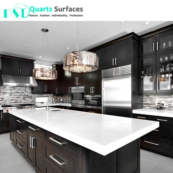 Prefabricated Crystal White Solid Surface Composite Quartz Countertop