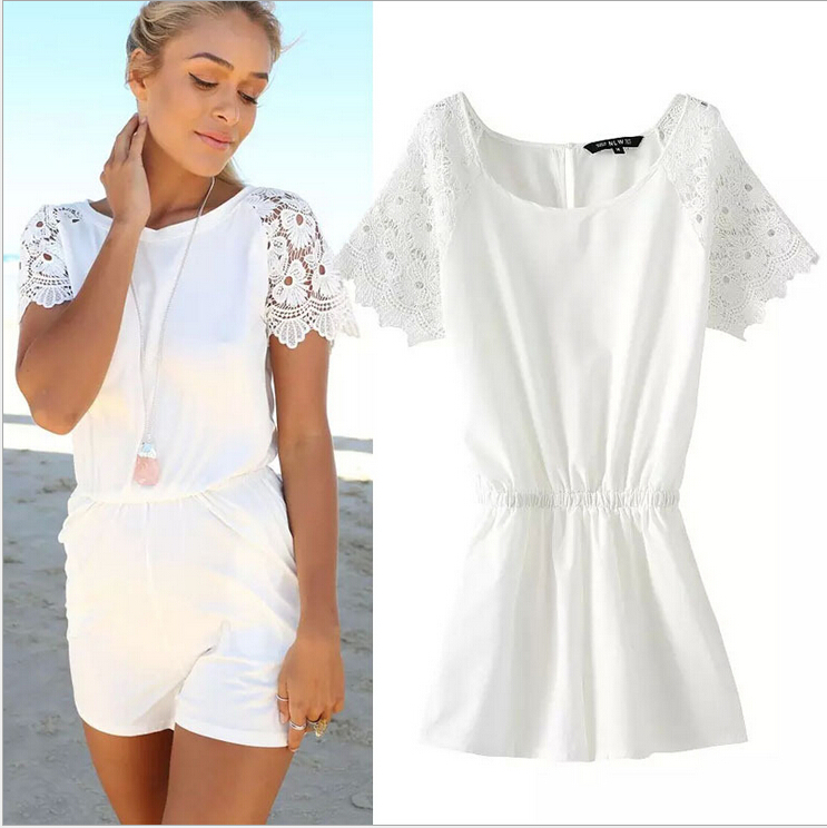17b9709ac9a Get Quotations · Women Jumpsuits Summer Short Sleeve O-Neck Overalls Slim  Lace Bodysuit White Ladies Shirts S M L