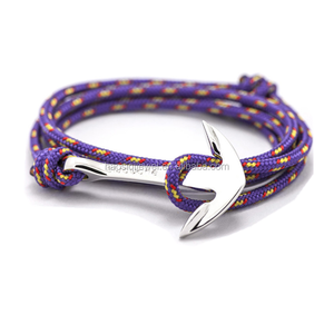 cheap custom navy nautical nylon purple rope bracelet women bracelet jewelry