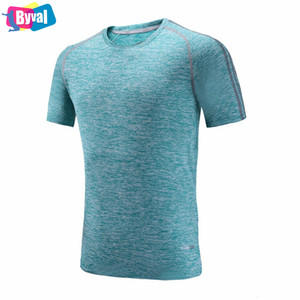 Wholesale Quick Dry T Shirt Very Soft Polyester Spandex Fabric Mens Slim Fit Sport Training Jersey Real High Quality