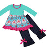 2017 Yawoo baby girls boutique clothing set dress and denim pant set wholesale childrens clothes