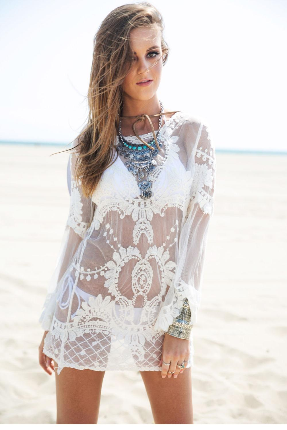 599eaf132c145 Get Quotations · Tapados De Mujer 2015 Summer Style Sexy White Long Sleeve  Saidas De Praia Crochet Beach Swimsuit