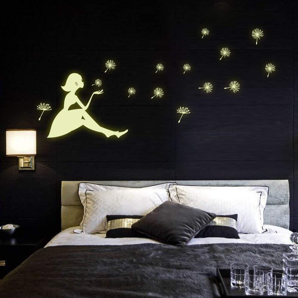 Rumas Dandelion Luminous Wall Murals for Livving Room Bedroom - DIY Removable Peel & Stick Wallpaper - Bathroom Decor - Office Decor - Wall Appliques for Kids Room Kindergarten (A)