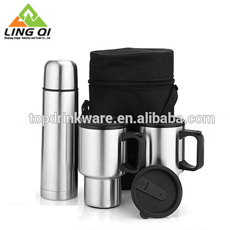 Bag packing 500ml vacuum flask and 16oz stainless steel thermos travel mug gift set