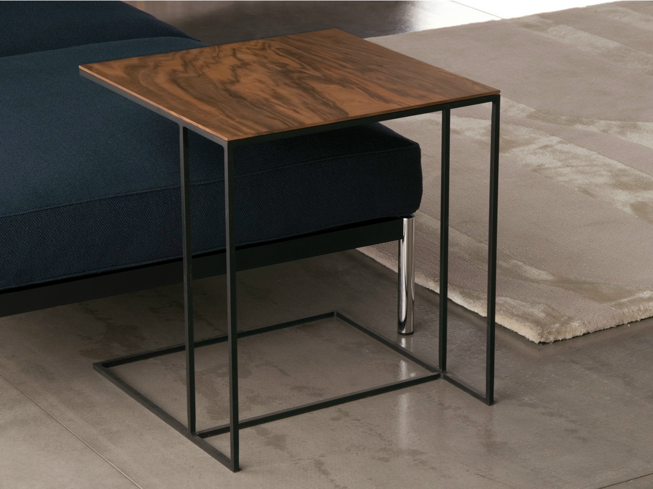 Modern movable wooden metal side table for sofa