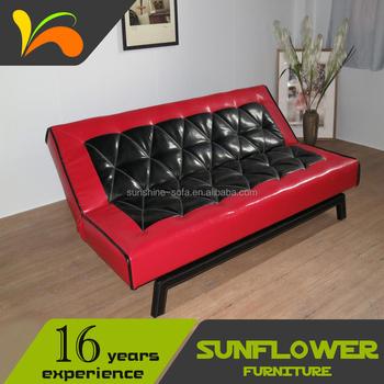 Desain Terbaru Kulit Hitam Merah Kursi Kantor Lipat Sofa Bed