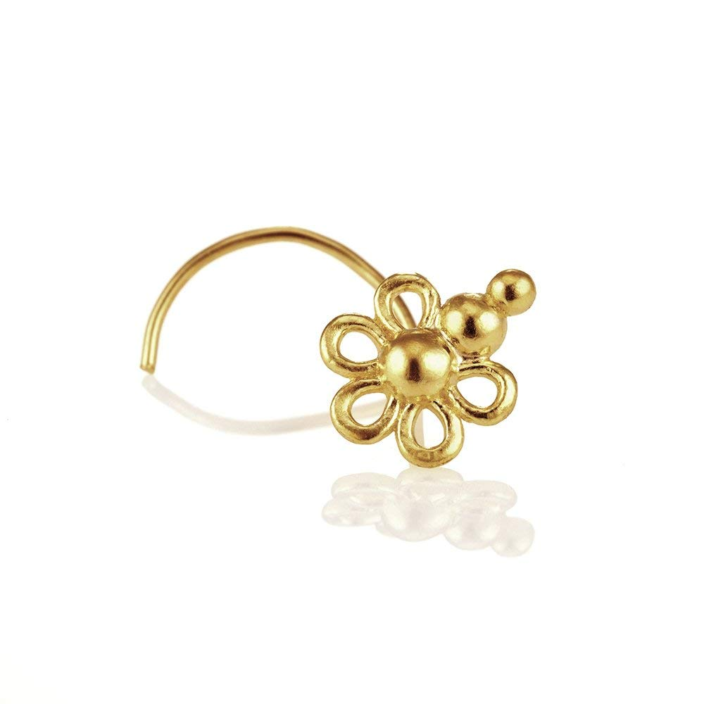 483bd5616 Get Quotations · Unique Nose Stud, 14K Yellow OR Rose Gold Indian Tribal  Flower Nose Piercing, Fits
