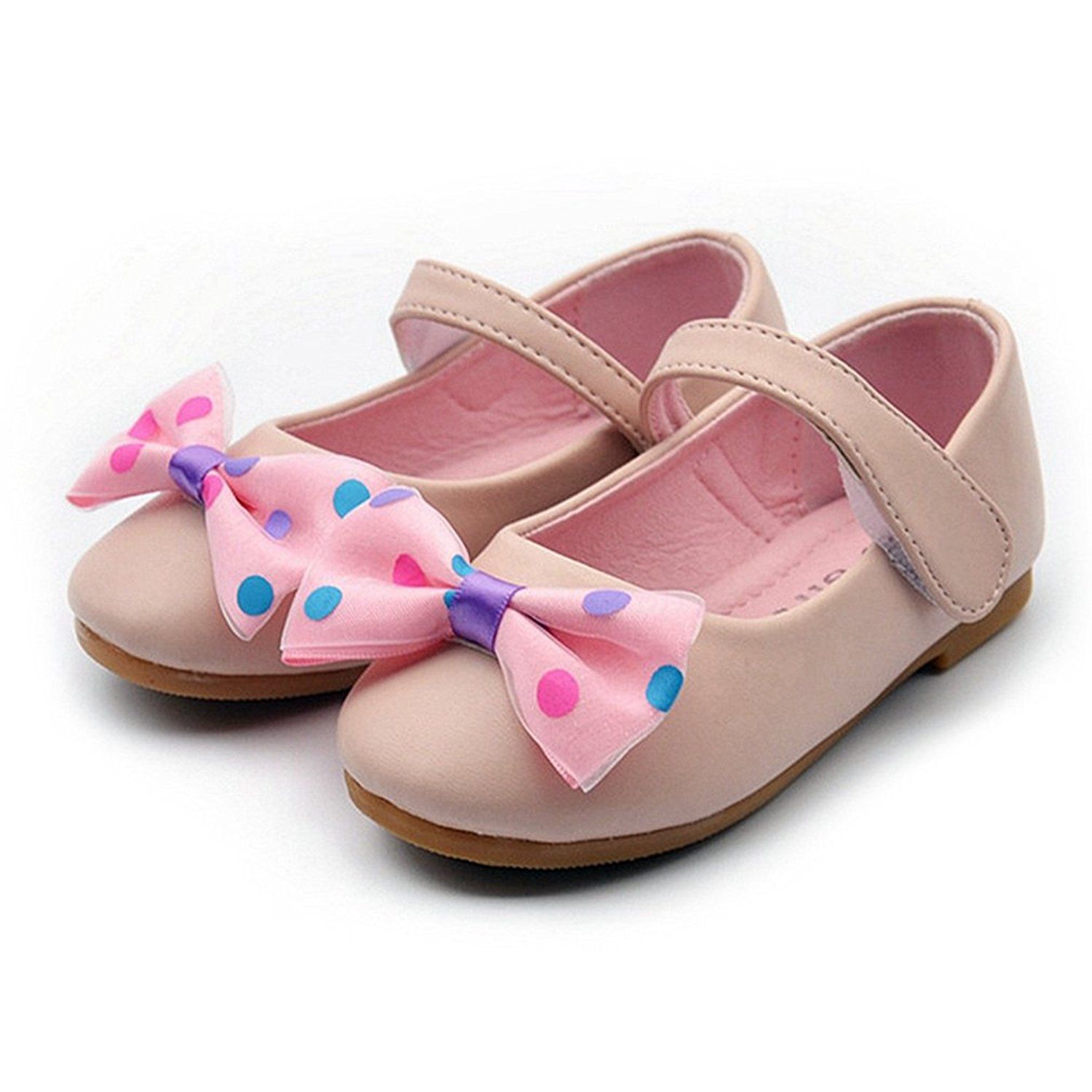 360c9235b471 Get Quotations · Kids Girls Bowknot Ballerina Flats Soft PU Leather Cute  Dressy Mary Jane Shoes (Toddler