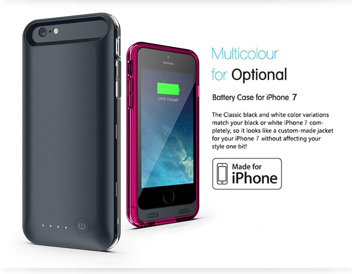 mfi certified battery case for iphone 7 Battery Case Back Up Power Bank