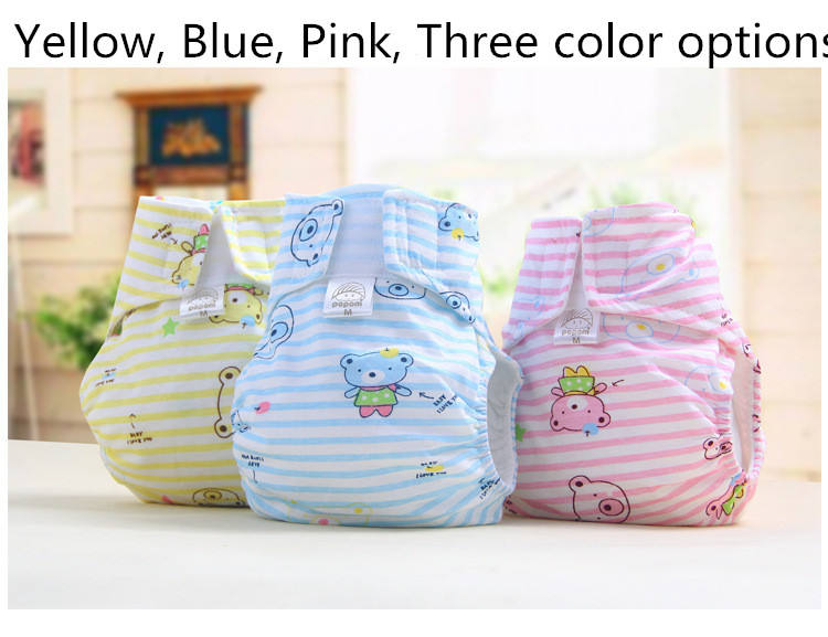 1PCS New baby cloth diapers 100 breathable cotton cartoon baby every diaper washable to prevent side