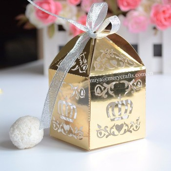 Personalized Gold Boxes For Christian Baby Souvenirs With Crown
