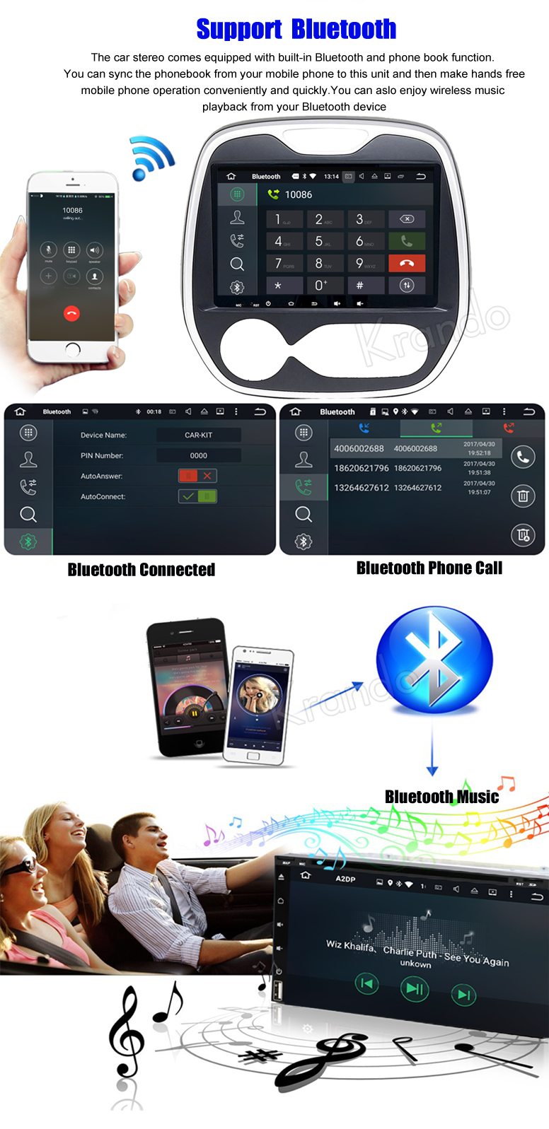 Krando Android 7.1 10.1'' full touch car navigation system for Renault Captur Clio Samsung Qm3 2011+ multimedia player KD-RC315
