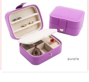 Small violet leather glass metal jewelry box with mirror