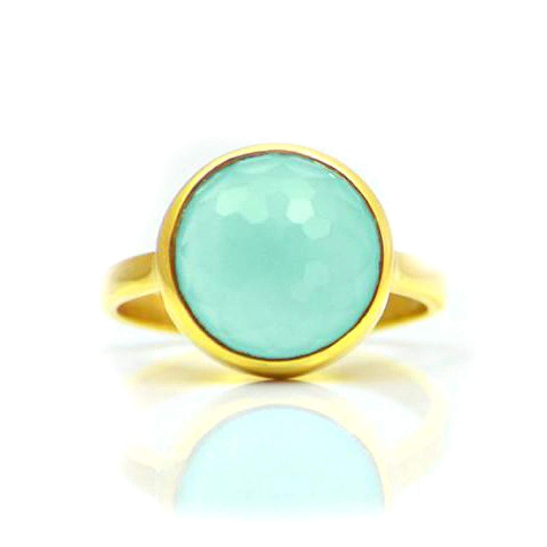 Nathis Blue Chalcedony Teardrop Cut Bezel Set Ring