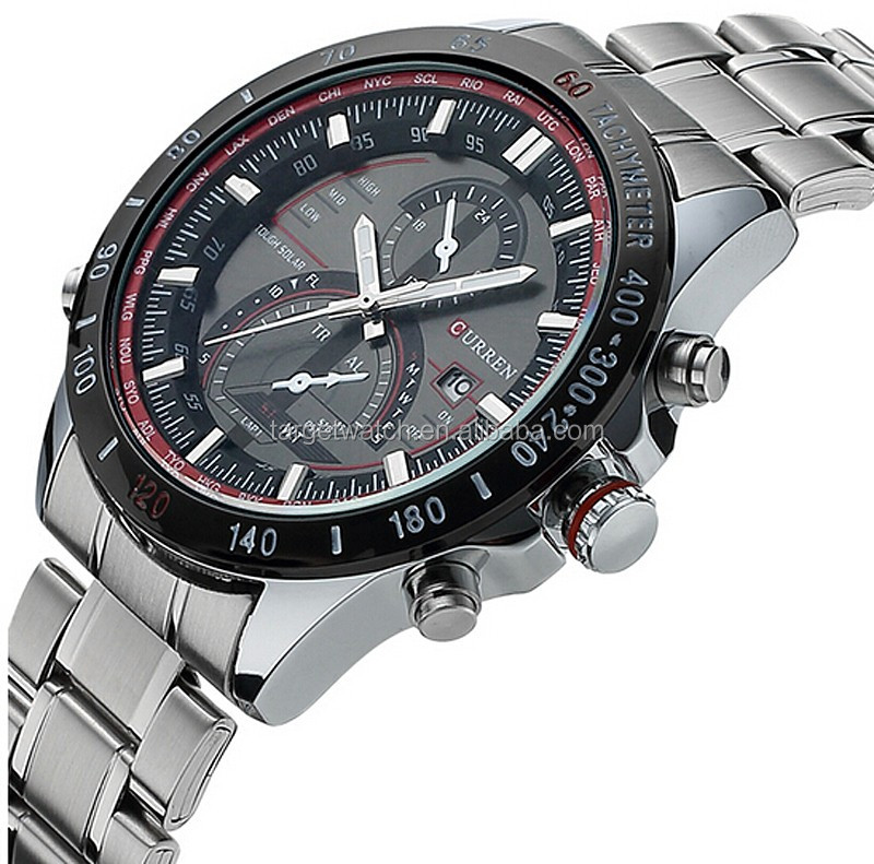 Multiple Time Zone Brand Stainless Steel Chronograph Clock