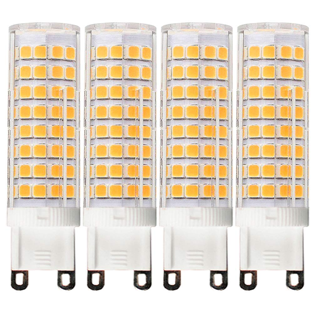 [4-Pack] G9-8W LED Bulbs, Equivalent to 100W or 75W, Dimmable, Warm White 3000K,G9 Bi Pin Base Bulb,360 Omni-Direction Beam Angle,AC 110V/120V/130V