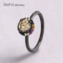 Wholesale 925 sterling silver wedding CZ jewelry big stone black ring designs for women