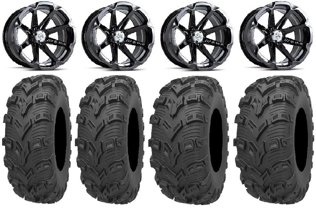 "Bundle - 9 Items: MSA Black Diesel 14"" Wheels 28"" Bear Claw EVO Tires [4x110 Bolt Pattern 10mmx1.25 Lug Kit]"