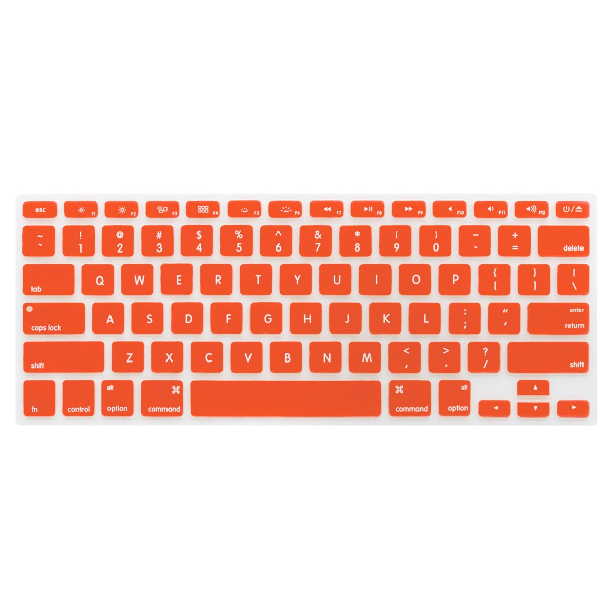 LENTION Silicone Keyboard Cover Protector for Apple MacBook Pro 13 15 17 Inch (with or without Retina Display, 2015 or Older Version) and MacBook Air 13 Inch, Ultra Thin Soft Skin (Orange)
