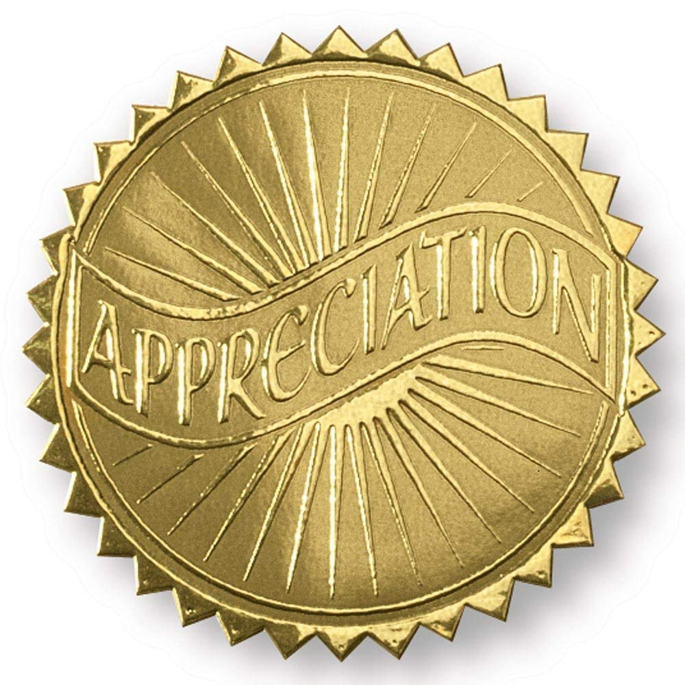 Appreciation Banner Embossed Gold Foil Certificate Seals, 2 Inch, Self Adhesive, 102 Count