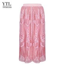 YTL женская элегантная винтажная Цветочная кружевная юбка миди размера плюс H247(Китай)
