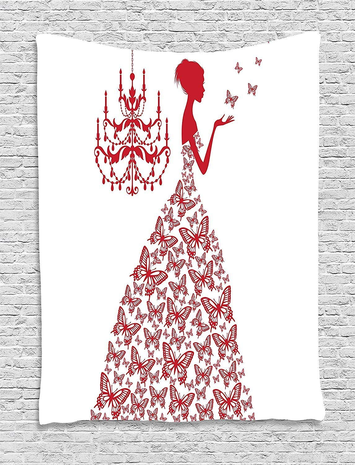 XHFITCLtd Love Decor Wall Hanging Tapestry, Country Wedding Artwork Prints Butterflies Princess Retro Chic Girls Teens Bachelorette Party, Bedroom Living Room Dorm Decor, 40 W x 60 L Inches, Red