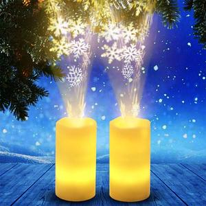 Mini LED Romantic Night Light Simulate Christmas Candle Rotating Projector Lamp with Remote Control Snowflake Pattern