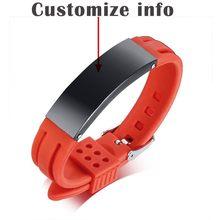 Силиконовые спортивные браслеты для мужчин и женщин, аксессуары, персонализированная гравировка, выберите цвет(Китай)
