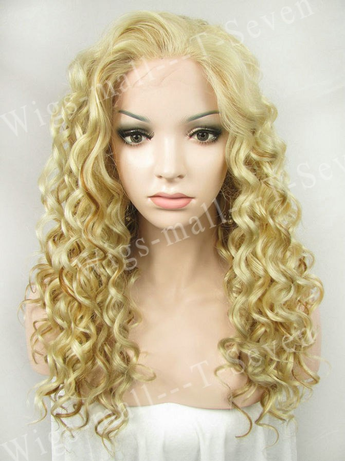 Barbie S Blonde Long Curly Hair Synthetic Lace Front Wigs