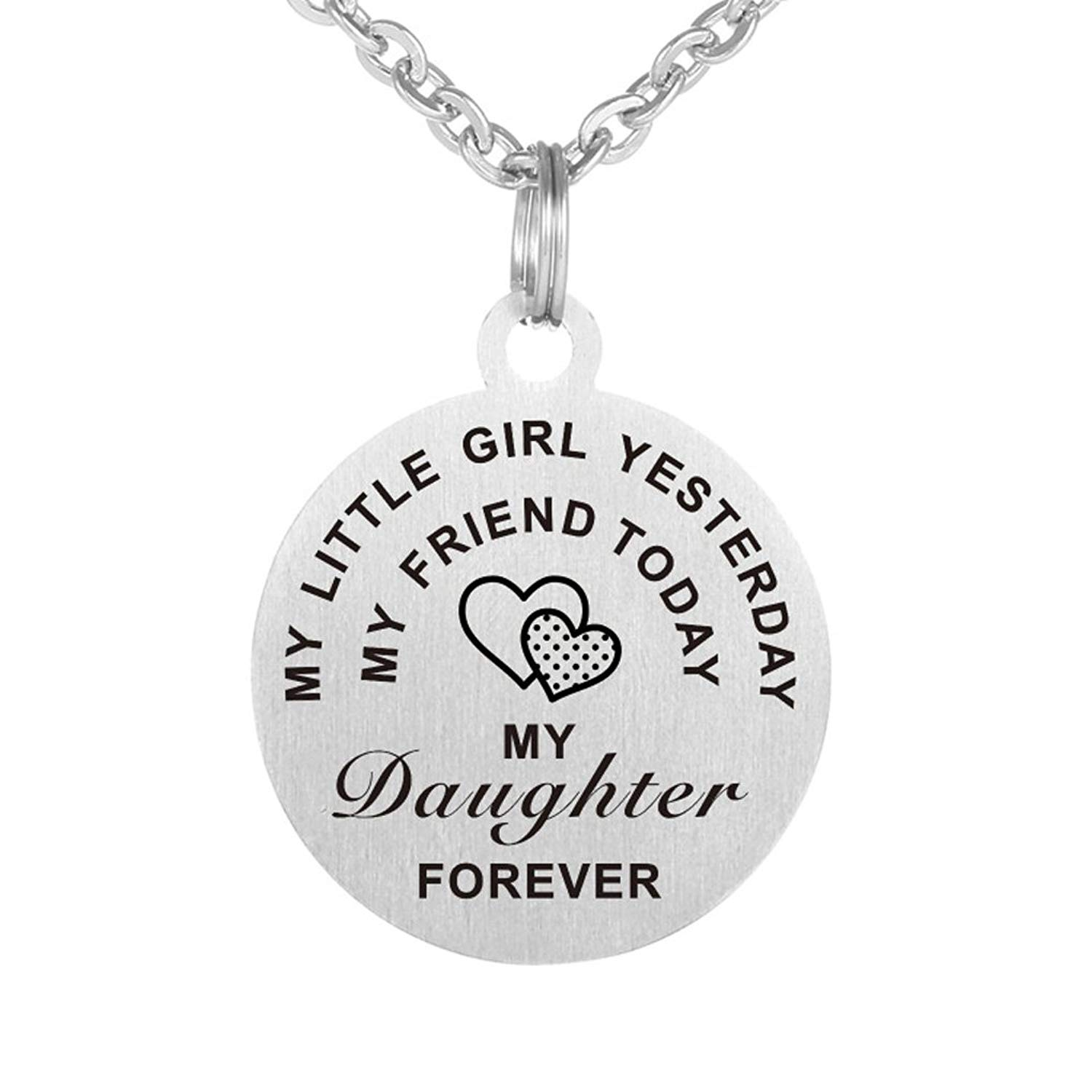"Inspirational Love Gift To My Daughter ""My Little Girl Yesterday,My Friend Today"" Dog Tag Keychain Necklace"
