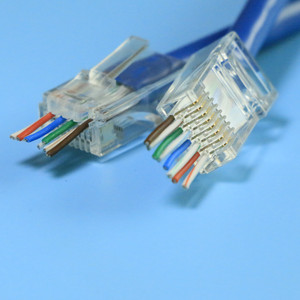 EZ cat5e/cat6 plug head open connector to go through the wire hole easlier