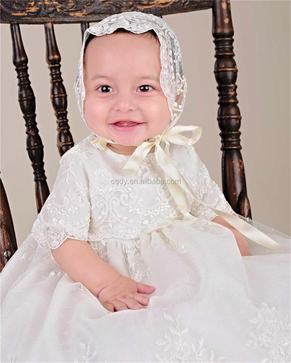 mit hut baby mädchen taufe taufe kleid lange stickerei glorious elfenbein  bestickte netting taufe kleider 0-2 jahre - buy baby junge taufe