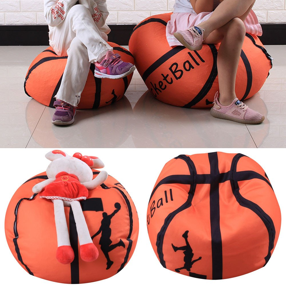 Storage Bean Bag,Kid Stuffed Animal Plush Basketball Style Toy Storage Bean Bag Soft Pouch Fabric Chair