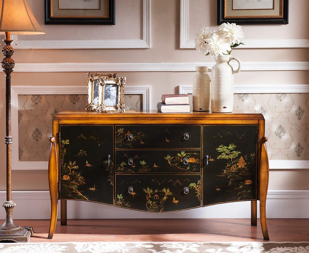 Antiguo flor pintada muebles vendimia cajonera-Armarios antiguos ...