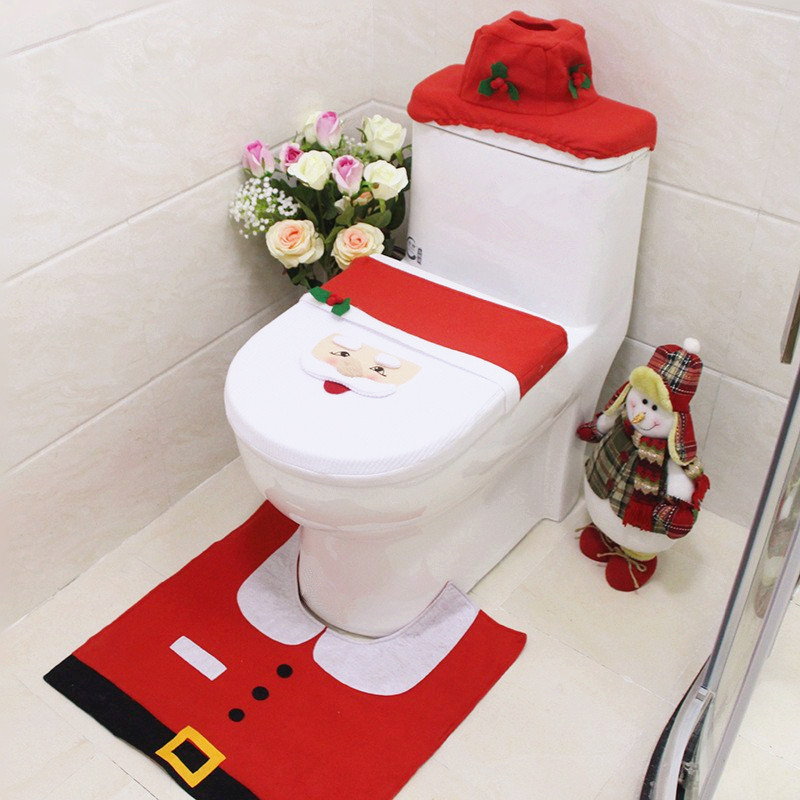3 Pcs Christmas Decorations Happy Santa Toilet Seat Cover and Tissue Box Cover and Rug Bathroom Set