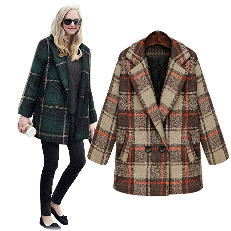dfda583b98cc1 Get Quotations · European 2015 Winter Coat Women New Brand Plus Size Wool  Coat Plaid casaco feminino Double Breasted