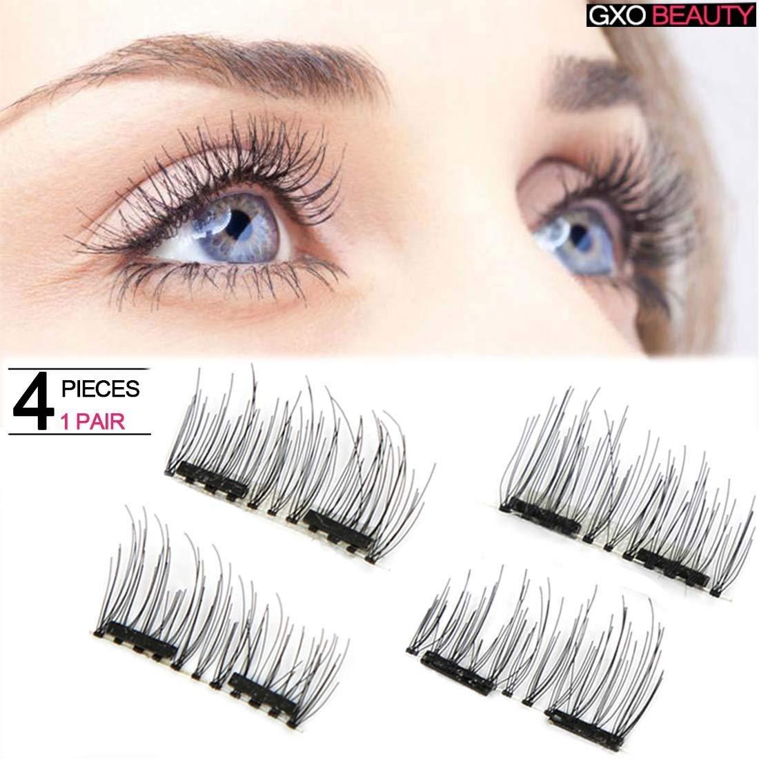 4eb3f384908 Get Quotations · Natural Double Magnetic Eyelashes False Magnetic Eyelashes  No Glue Convenient Soft Air Fake Eyelashes 3D Reusable