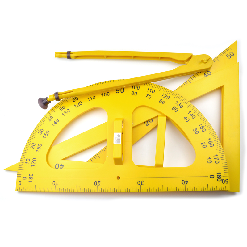 Customized Plastic School Math Geometry Set for Teachers include Set Square Protractor and Compasses