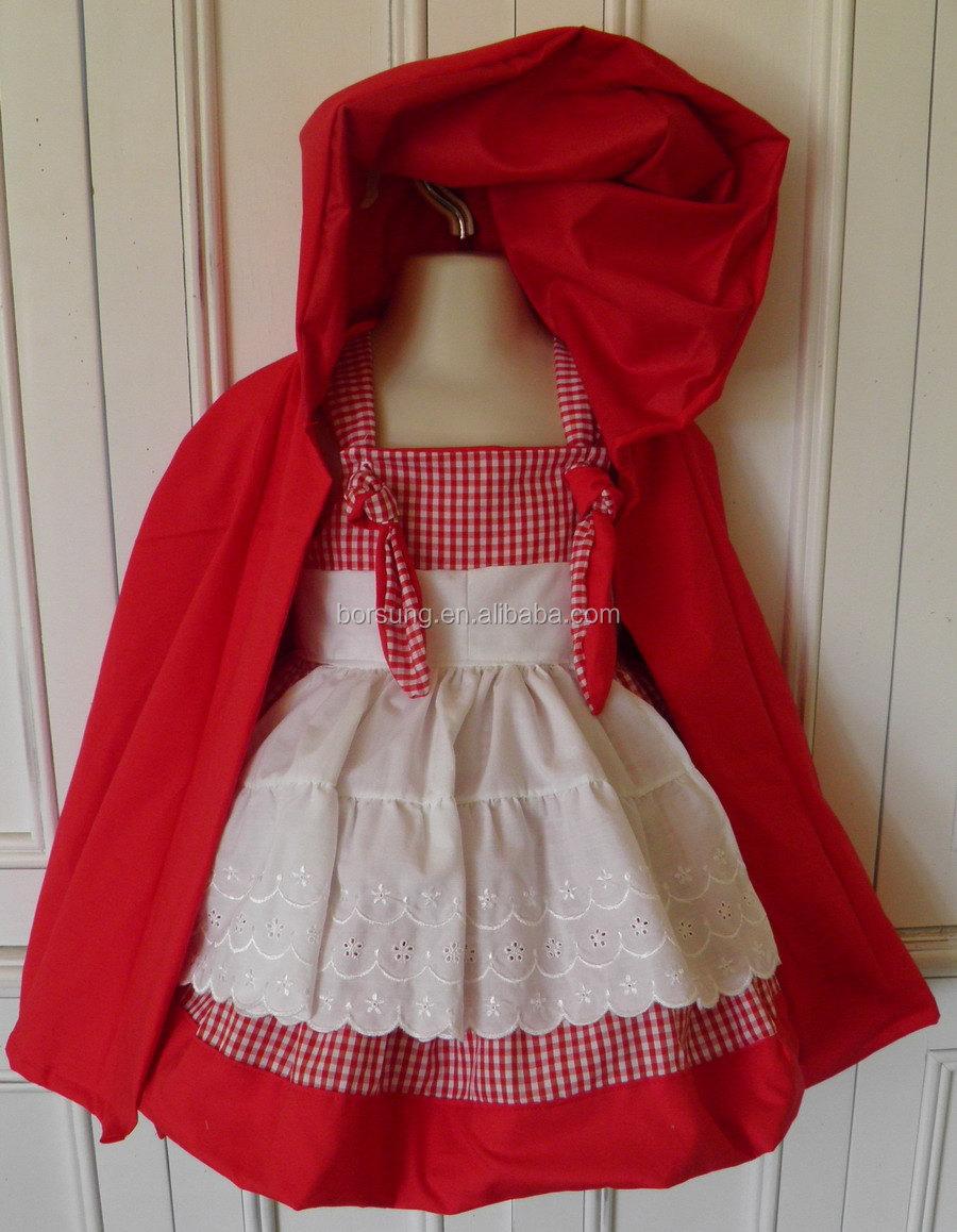 2 Unids Caperucita Roja Traje Del Boutique Cotton Frock
