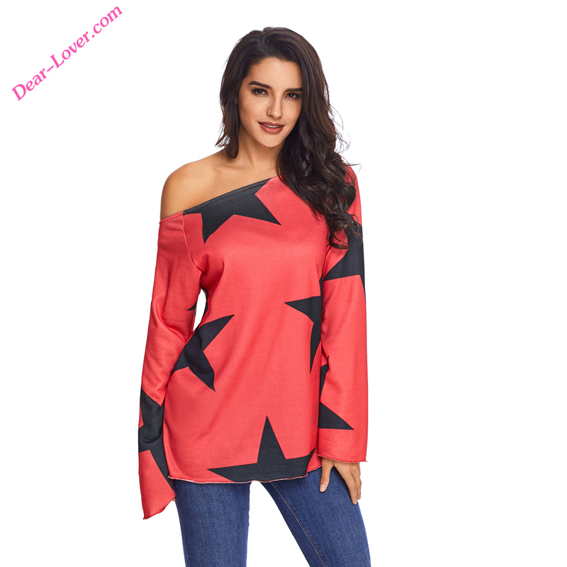 Custom Women Red Long Sleeve Star T-shirt