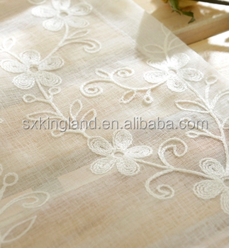 Hot sale white floral tulle in embroidery sheer curtains for living room the bedroom kitchen shade window treatment