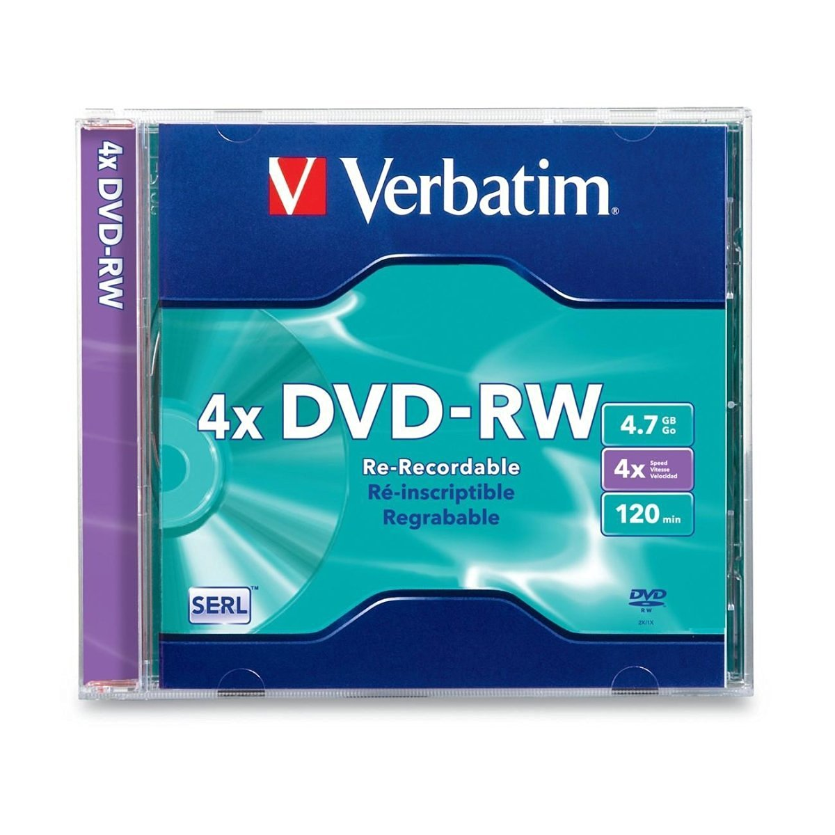 VERBATIM 94836 DVD-RW 4x 4.7GB for General use DataLifePlus Branded Surface 1pk Jewel Case